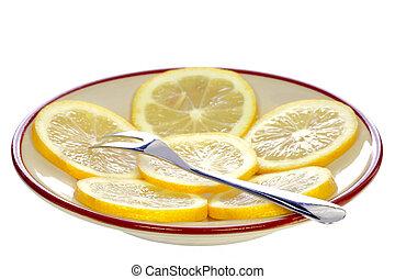 フォーク, プレート, レモン