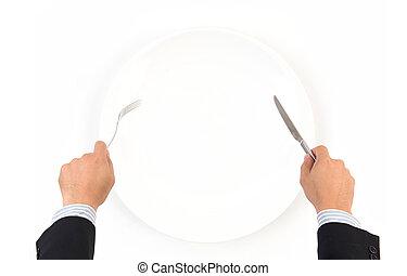フォーク, プレート, 手, 白, 把握, ナイフ