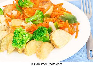 フォーク, プレート, 野菜, 混ぜられた