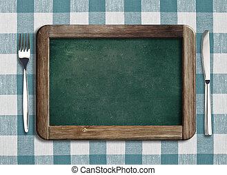 フォーク, メニュー, ナイフ, 黒板, テーブルクロス, あること