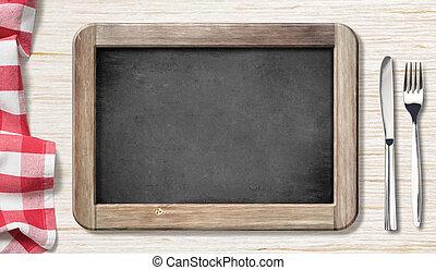 フォーク, メニュー, 上, 黒板, テーブル ナイフ, 光景
