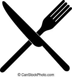 フォーク, 上に, 交差させる, ナイフ