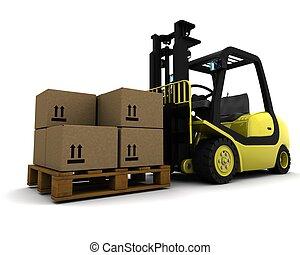フォーク, 隔離された, 黄色, リフト, トラック, 白