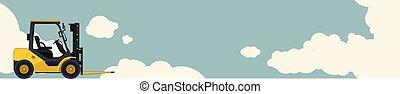 フォーク, 雲, 掘削機, 空, 黄色, 積込み機, バックグラウンド。, リフト, crane., 小さい, レイアウト, 横, 旗