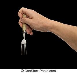 フォーク, 食事をする, 黒い背景, 手