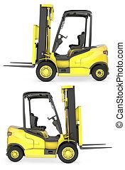 フォーク, 黄色, リフト, トラック, サイド光景