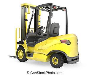 フォーク, 黄色, リフト, トラック, 後部光景