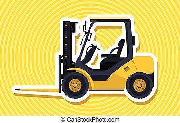 フォーク, outline., ローディング, 黄色, 積込み機, machinery., リフト, material., 建設