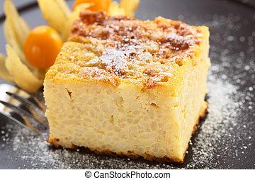 フォーク, (very, 権利, デザート, 浅い, 甘くされた, フォーカス, 背中, 砂糖, 前部, 深さ, プディング, パウダーフィールド, physalis, cake), コーナー, 米, 焼かれた, 側, 装飾される