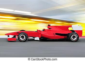 フォーミュラワン, レースカー, 上に, スピード, トラック