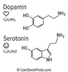 フォーミュラ, ベクトル, serotonin, 化学物質, ホルモン, dopamin