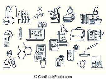 フォーミュラ, equipment., 手, 仕事, 引かれる, 科学, 知識, education., 化学, 実験室