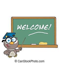 フクロウ, そして, 歓迎, チョーク板