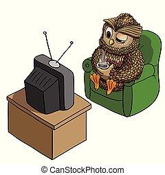 フクロウ, カップ, tv, 特徴, コーヒー, 眠い, 隔離された, イラスト, 朝, 面白い, ベクトル, ...