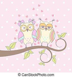 フクロウ, カード, 美しい