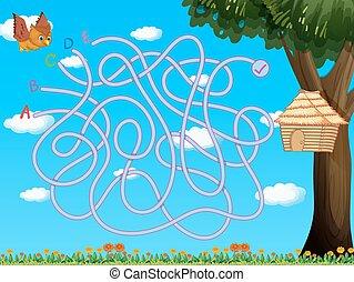 フクロウ, ゲーム, 飛行, birdhouse, テンプレート