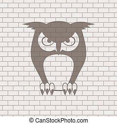 フクロウ, ドロー, れんが, 背景