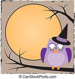 フクロウ, ハロウィーン, 月