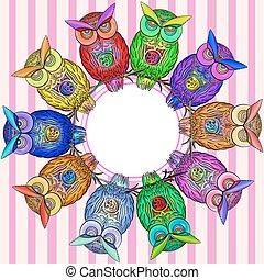 フクロウ, フレーム, ベクトル, 明るい