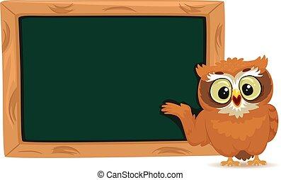 フクロウ, ブランク, 立つ, 黒板