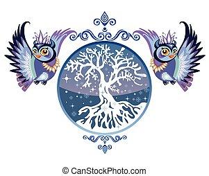 フクロウ, ベクトル, 冬の 木