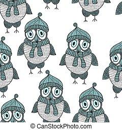 フクロウ, ベクトル, seamless, パターン