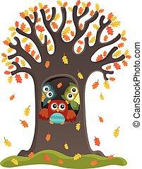 フクロウ, 主題, 木, イメージ