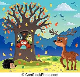 フクロウ, 主題, 木
