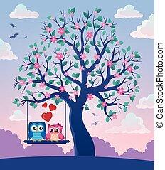 フクロウ, 主題, 2, 木, バレンタイン