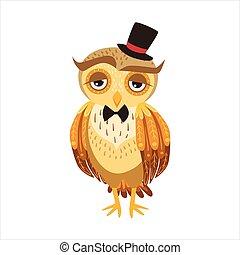 フクロウ, 人間, かわいい, 紳士, 提示, 特徴, 感情, 鳥, 森林, 行動, 漫画, 帽子, 上, emoji