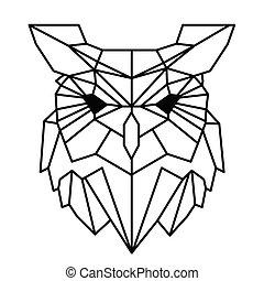 フクロウ, 入れ墨, 幾何学, イメージ, 現代, ベクトル, デザイン