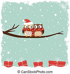 フクロウ, 冬, カード, 2
