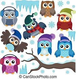 フクロウ, 冬, 主題