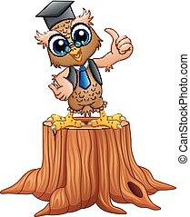 フクロウ, 切り株, 帽子, 木, 卒業, 賢い, 漫画