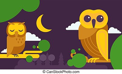 フクロウ, 別, ベクトル, 賢い, illustration., かわいい, 木, moon., モデル, 空, 翼, 色, birthday, ブランチ, 夜, カード, 漫画, 招待, パーティー。, 鳥, 祝福