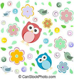 フクロウ, 子供, カラフルである, seamless, パターン