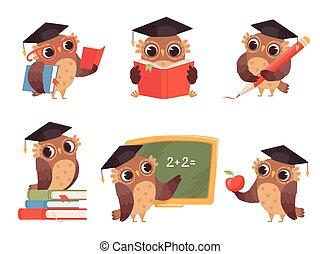 フクロウ, 学校, 指すこと, かわいい, teacher., 項目, 背中, 漫画, ベクトル, 特徴, イラスト, 読書, 鳥, マスコット