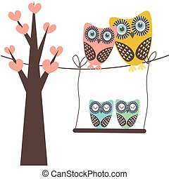 フクロウ, 家族, モデル, 木, イラスト, ベクトル, かわいい