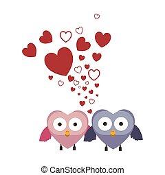 フクロウ, 恋人, 愛, 翼, 保有物