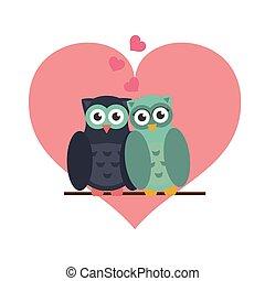 フクロウ, 愛, 漫画, かわいい