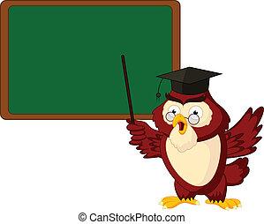 フクロウ, 所有するため, スペース, テキスト, コピー, 教師