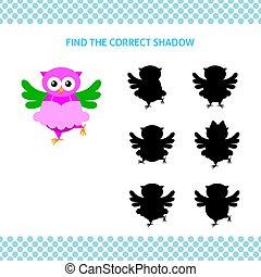 フクロウ, 教育, 子供, バレリーナ, game., ファインド, 影, 正しい, 漫画