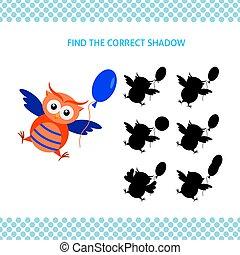 フクロウ, 教育, 子供, game., balloon, ファインド, 影, 正しい, 漫画