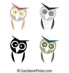 フクロウ, 最小である, デザイン, コレクション, セット