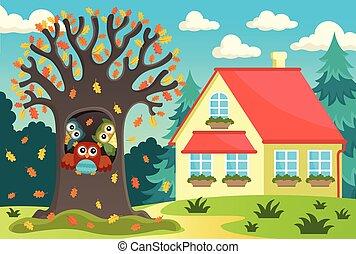 フクロウ, 木の家