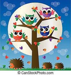フクロウ, 木, カラフルである