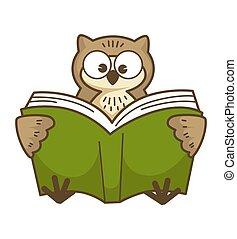 フクロウ, 目, 賢い, 大きい, 読む, 本, ラウンド