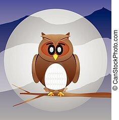 フクロウ, 背景, 月