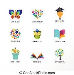 フクロウ, 要素, アイコン, set., 本, 木, シンボル, 帽子, 学生, 教育