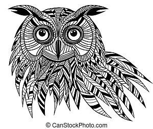 フクロウ, 頭, t-shirt., 紋章, 入れ墨, シンボル, ハロウィーン, スケッチ, イラスト, デザイン, 鳥, ベクトル, ロゴ, マスコット, ∥あるいは∥, design.